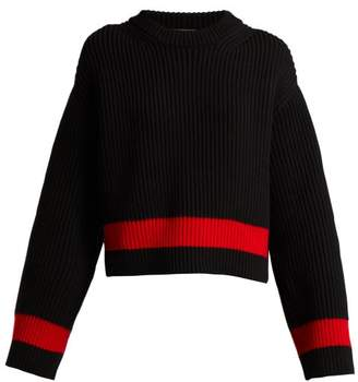 Alexander McQueen Wool And Cashmere Blend Striped Sweater - Womens - Black Red