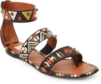 Valentino Printed Embellished Ankle Strap Flat Sandals