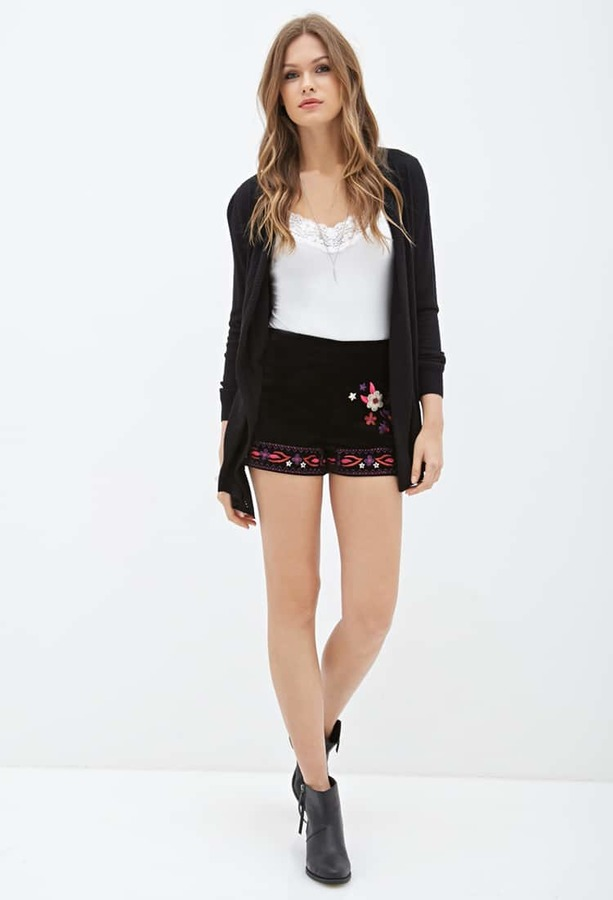 Forever 21 Contemporary Embroidered Faux Suede Shorts