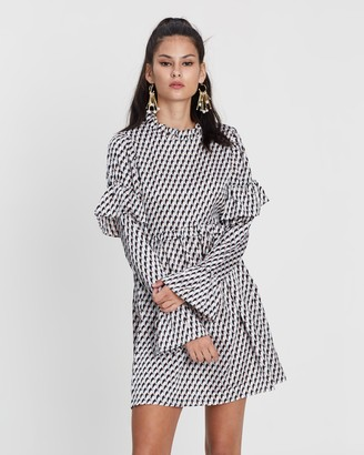 Missguided Long Sleeve Frill Dress