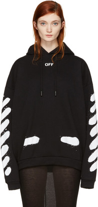 Off-White SSENSE Exclusive Black Diagonal Spray Hoodie $545 thestylecure.com