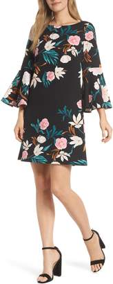 Eliza J Bell Sleeve Floral Print Shift Dress