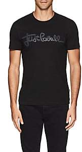 Just Cavalli MEN'S ZIPPER-LOGO COTTON T-SHIRT-BLACK SIZE M