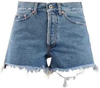 Off-White Frayed-hem high-rise denim shorts