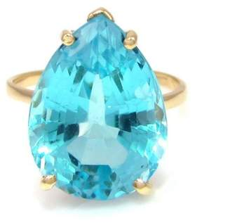575 Denim 14k Yellow Gold Pear Cut Sky Blue Topaz Solitaire Ring Size