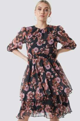 Na Kd Boho Puff Sleeve Chiffon Mini Dress Black/Pink Flower Print