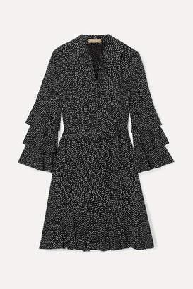 Michael Kors Belted Ruffled Polka-dot Silk-crepe Mini Dress - Black
