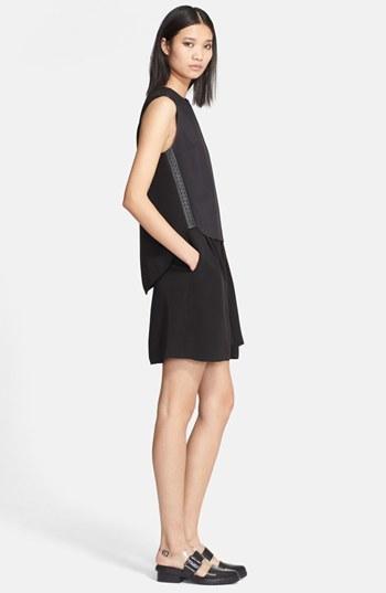 3.1 Phillip Lim Leather Trim High/Low Layered Dress