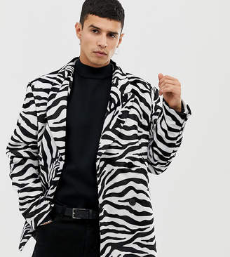 Collusion COLLUSION double breasted velvet blazer in zebra print