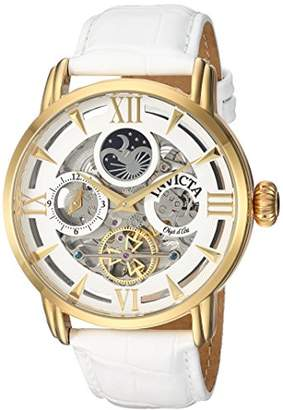Invicta Men's 'Objet d'Art' Automatic Stainless Steel and Leather Casual Watch