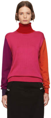 Facetasm Pink Wool Colorblocked Turtleneck