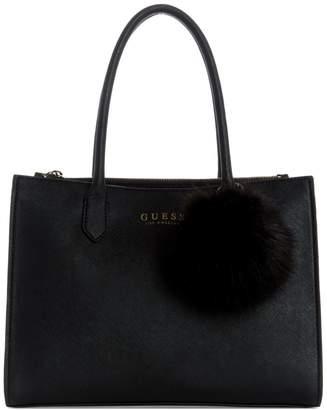 GUESS Debora Faux Fur Pom-Pom Carry All Bag