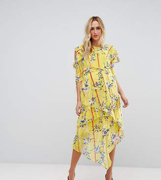 Asos Cold Shoulder Dress with Ring Detail in Yellow Floral Print