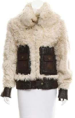 Dolce & Gabbana Leather Trimmed Shearling Coat w/ Tags