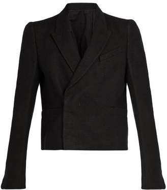 Rick Owens - Cropped Double Breasted Camel Hair Blend Blazer - Mens - Black