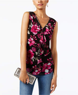 INC International Concepts I.n.c. Petite Printed Ruffled Top, Created for Macy's