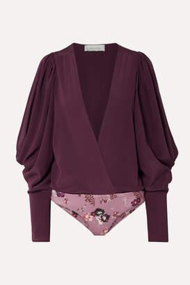 Silvia Tcherassi Drew Wrap-effect Cold-shoulder Silk-georgette And Stretch-jersey Bodysuit - Grape