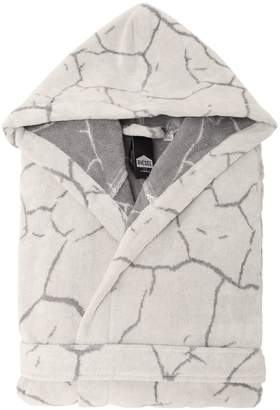 Crackle Hooded Cotton Bathrobe