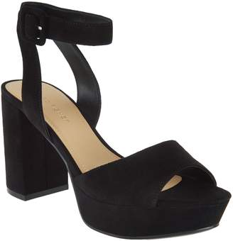 Marc Fisher Suede Platform Sandals with Ankle Strap - Meliza