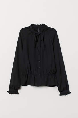 H&M V-neck Blouse with Tie Collar - Black