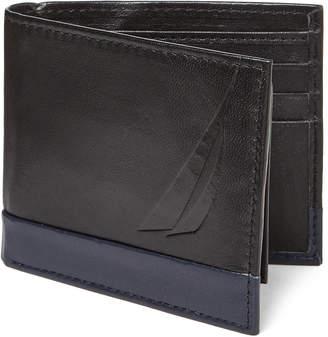 Nautica Black & Navy Astern Passcase Wallet