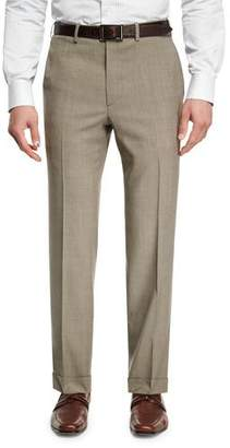 Brioni Mohair-Look Wool Flat-Front Trousers, Taupe