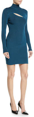 Thierry Mugler Turtleneck Long-Sleeve Ribbed Dress w/ Slit Detail