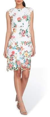 Tahari Floral Print Lace Sheath Dress