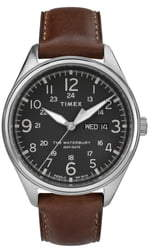 Timex Waterbury Leather Band Watch, 42mm