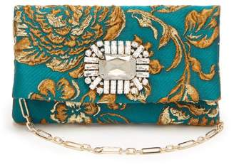 Jimmy Choo Titania Crystal Embellished Cloque Brocade Clutch - Womens - Blue Multi