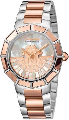 Roberto Cavalli By Franck Muller 37mm Men's Two-Tone Bracelet Watch w/ Rotating Diamond Dial, Multi