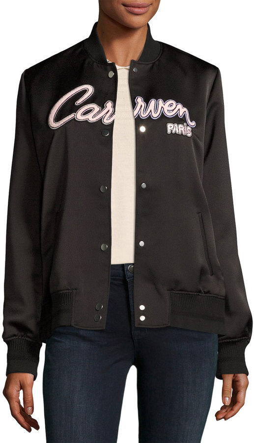 CarvenCarven Veste Teddy Bomber Jacket, Black