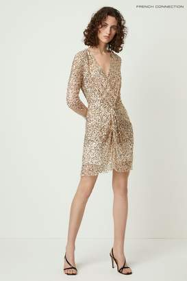 French Connection Womens Gold Emille Sparkle Short Dress - Gold