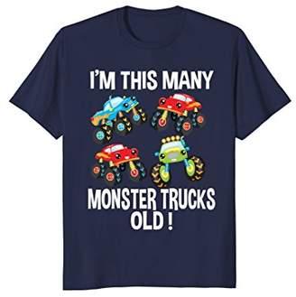 Birthday Shirt For Boys 4 I'm This Many Monster Trucks Old