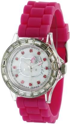 Hello Kitty MZ BURGER Girl's HK1558 Analog Display Stone Bezel Quartz Pink Watch