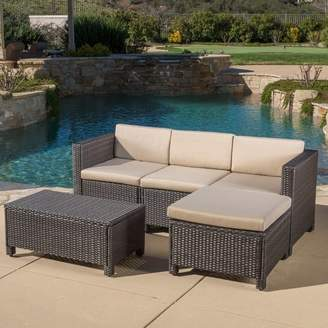Latitude Run 5 Piece Sectional Set with Cushions Frame