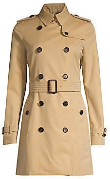 Burberry Women's Kensington Mid-Length Heritage Cotton Trench Coat