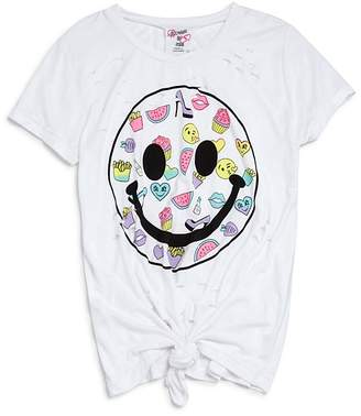 Flowers by Zoe Girls' Distressed Tie-Front Smiley Tee - Little Kid