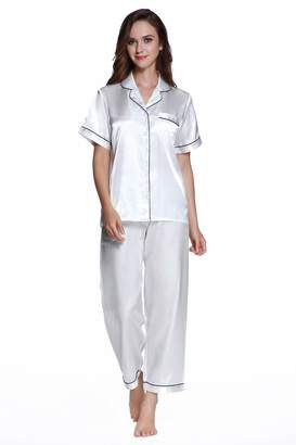 a702a66462 S-Forest Women s Satin Pajamas Set Short Sleeve with Long Pants (XL