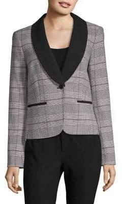 Calvin Klein Plaid Shawl Collar Jacket