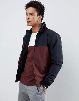 Fred Perry paneled quilted jacket in burgundy/navy