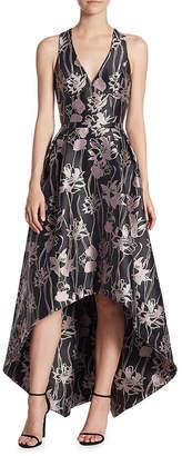 Theia V-Neck Jacquard High-Low Dress