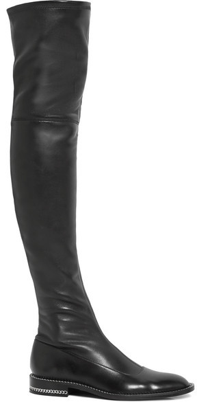 Givenchy - Chain-trimmed Over-the-knee Boots In Black Stretch-leather