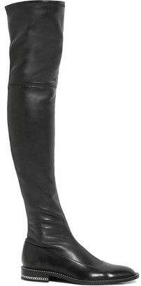 Givenchy - Chain-trimmed Over-the-knee Boots In Black Stretch-leather $1,850 thestylecure.com