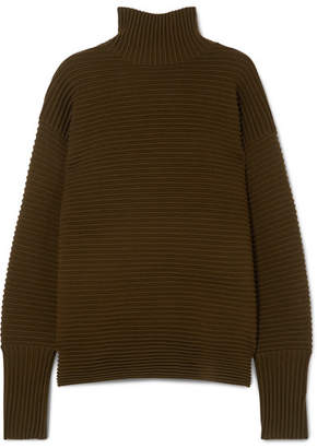 Victoria Beckham Victoria, Ribbed Merino Wool Turtleneck Sweater - Army green
