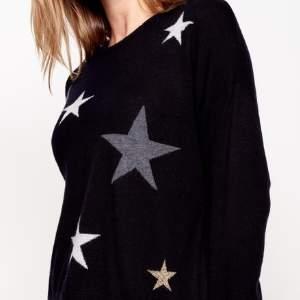 Sundry Black Stars Knit Sweater - 0 - Black/Grey/White