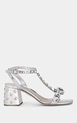 Miu Miu Women's Embellished Metallic Leather T-Strap Sandals - Silver