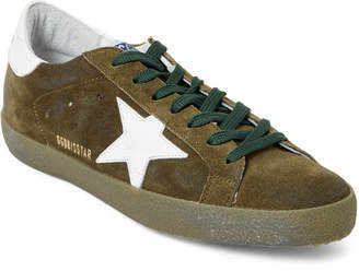 Golden Goose Olive & White Superstar Suede Low-Top Sneakers