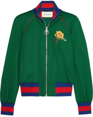 Gucci Appliquéd Satin-jersey Bomber Jacket - Green