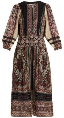 Sea Ezri Printed Crepe De Chine Dress - Womens - Brown Multi